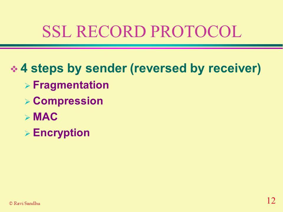 12 © Ravi Sandhu SSL RECORD PROTOCOL 4 steps by sender (reversed by receiver) Fragmentation Compression MAC Encryption