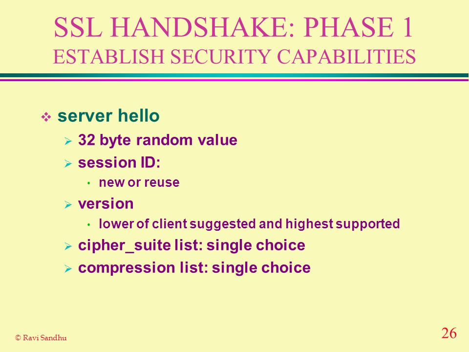 26 © Ravi Sandhu SSL HANDSHAKE: PHASE 1 ESTABLISH SECURITY CAPABILITIES server hello 32 byte random value session ID: new or reuse version lower of client suggested and highest supported cipher_suite list: single choice compression list: single choice