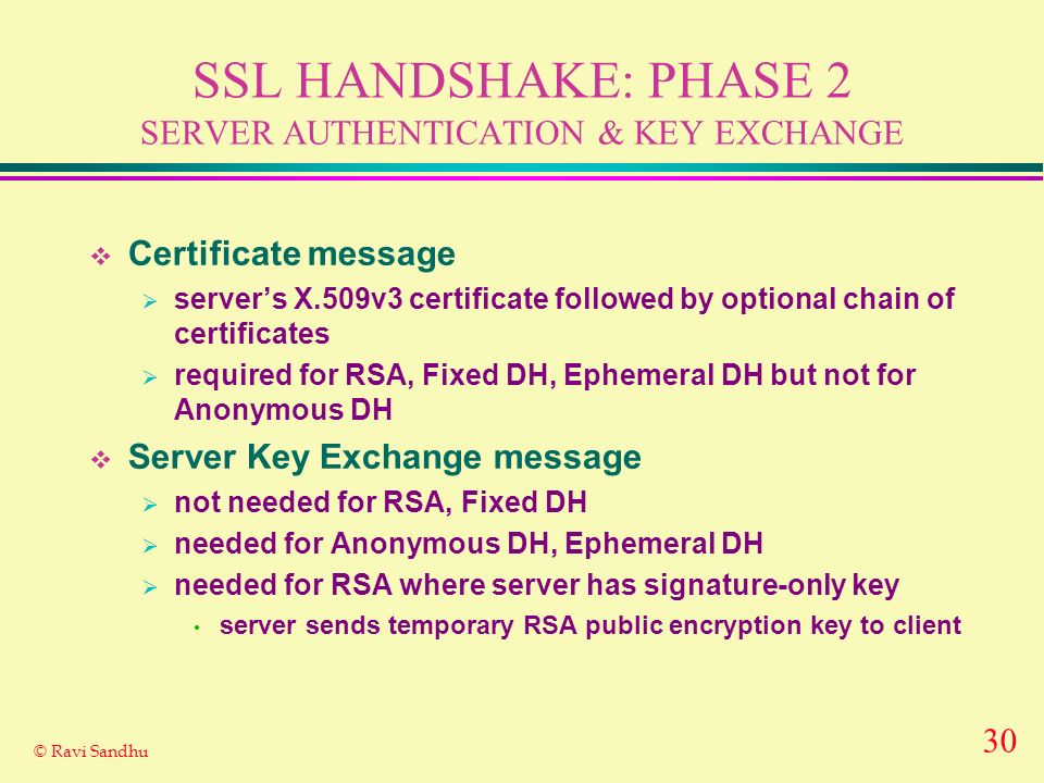30 © Ravi Sandhu SSL HANDSHAKE: PHASE 2 SERVER AUTHENTICATION & KEY EXCHANGE Certificate message servers X.509v3 certificate followed by optional chain of certificates required for RSA, Fixed DH, Ephemeral DH but not for Anonymous DH Server Key Exchange message not needed for RSA, Fixed DH needed for Anonymous DH, Ephemeral DH needed for RSA where server has signature-only key server sends temporary RSA public encryption key to client