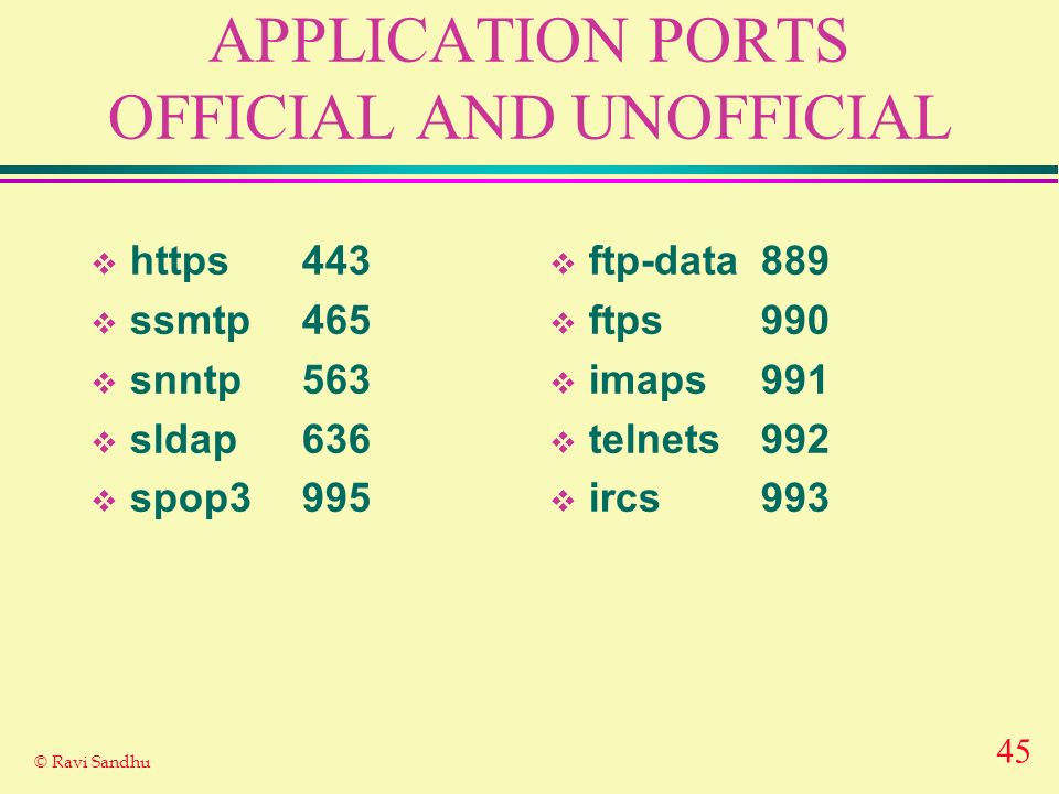 45 © Ravi Sandhu APPLICATION PORTS OFFICIAL AND UNOFFICIAL https443 ssmtp465 snntp563 sldap636 spop3995 ftp-data889 ftps990 imaps991 telnets992 ircs993