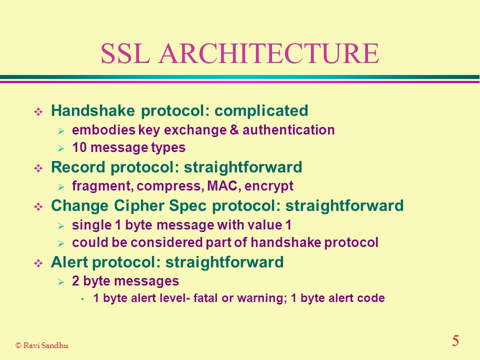 5 © Ravi Sandhu SSL ARCHITECTURE Handshake protocol: complicated embodies key exchange & authentication 10 message types Record protocol: straightforward fragment, compress, MAC, encrypt Change Cipher Spec protocol: straightforward single 1 byte message with value 1 could be considered part of handshake protocol Alert protocol: straightforward 2 byte messages 1 byte alert level- fatal or warning; 1 byte alert code
