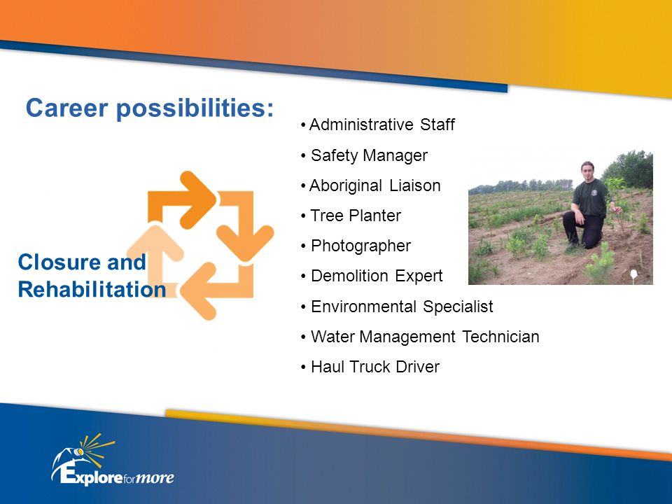 Administrative Staff Safety Manager Aboriginal Liaison Tree Planter Photographer Demolition Expert Environmental Specialist Water Management Technician Haul Truck Driver Closure and Rehabilitation Career possibilities: