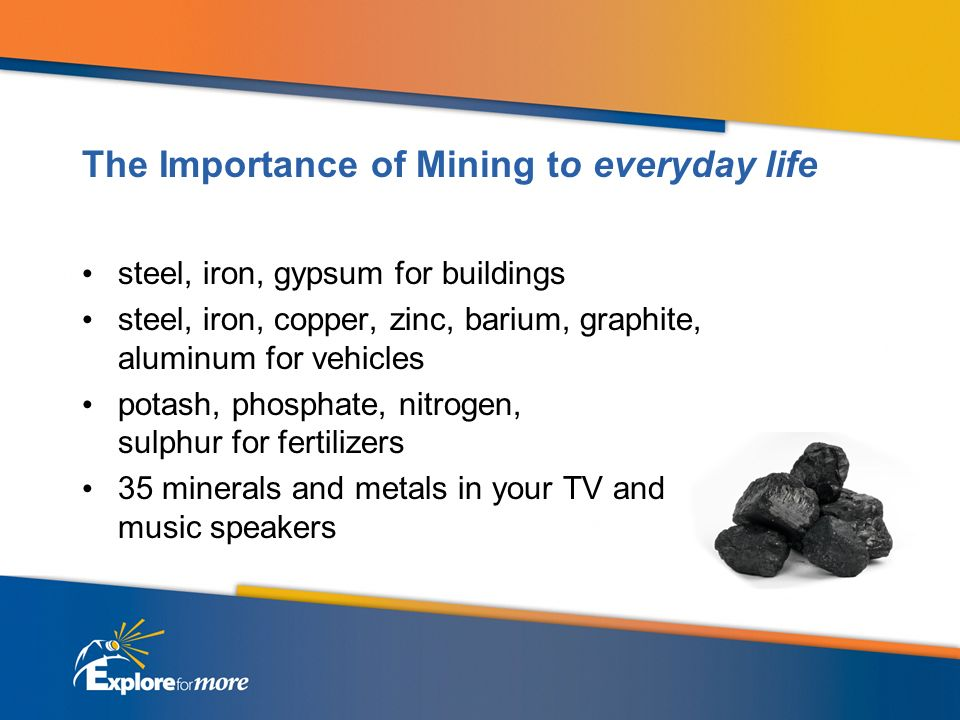 The Importance of Mining to everyday life steel, iron, gypsum for buildings steel, iron, copper, zinc, barium, graphite, aluminum for vehicles potash, phosphate, nitrogen, sulphur for fertilizers 35 minerals and metals in your TV and music speakers