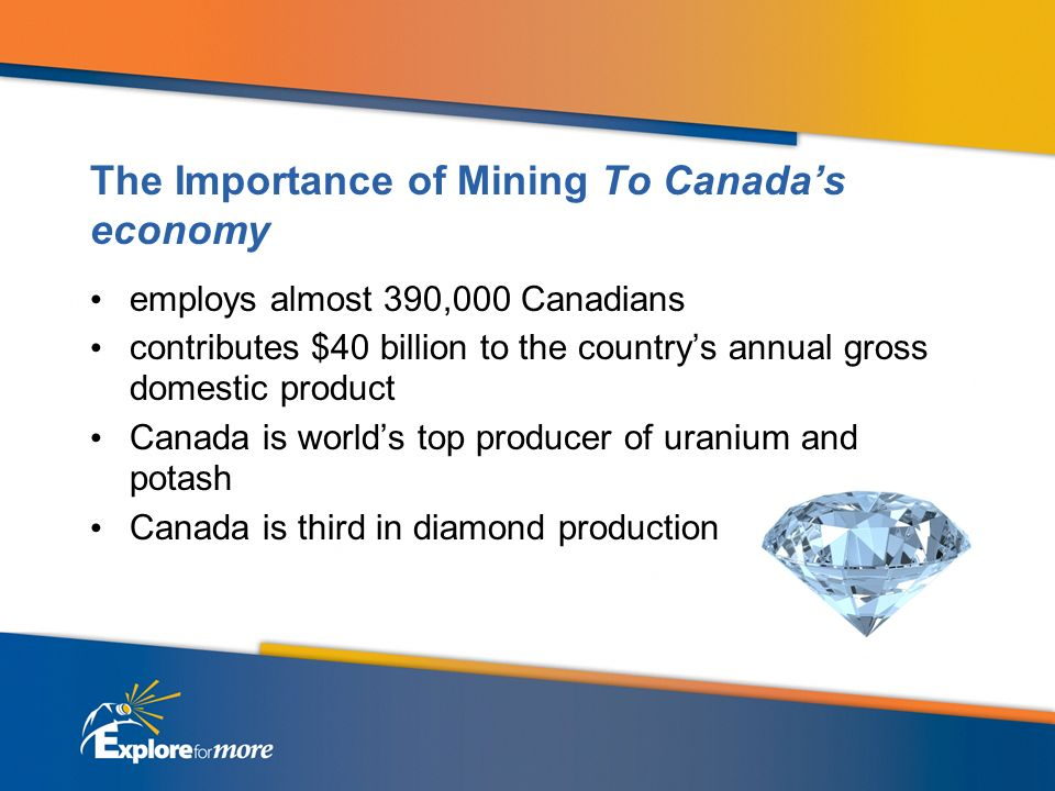 The Importance of Mining To Canadas economy employs almost 390,000 Canadians contributes $40 billion to the countrys annual gross domestic product Can