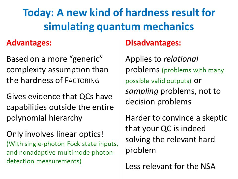Advantages: Based on a more generic complexity assumption than the hardness of F ACTORING Gives evidence that QCs have capabilities outside the entire polynomial hierarchy Only involves linear optics.