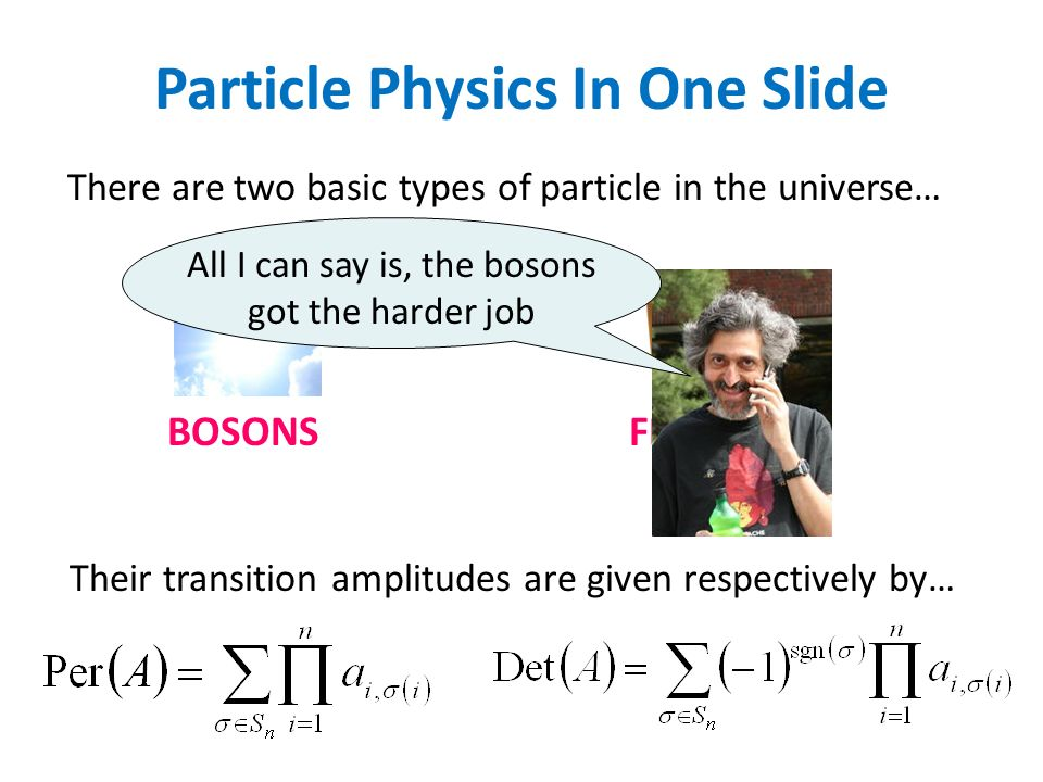 BOSONSFERMIONS There are two basic types of particle in the universe… Their transition amplitudes are given respectively by… All I can say is, the bosons got the harder job Particle Physics In One Slide