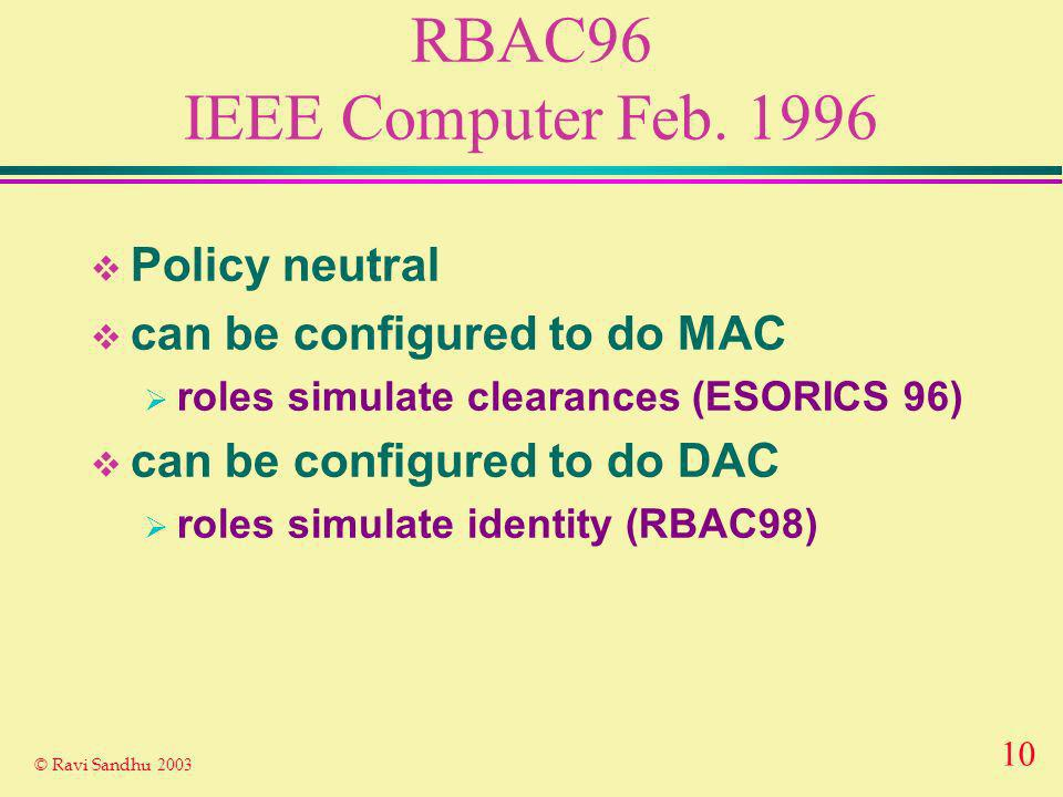 10 © Ravi Sandhu 2003 RBAC96 IEEE Computer Feb. 1996 Policy neutral can be configured to do MAC roles simulate clearances (ESORICS 96) can be configur