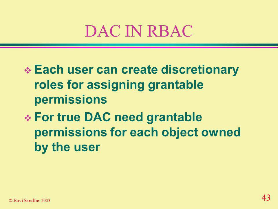 43 © Ravi Sandhu 2003 DAC IN RBAC Each user can create discretionary roles for assigning grantable permissions For true DAC need grantable permissions for each object owned by the user