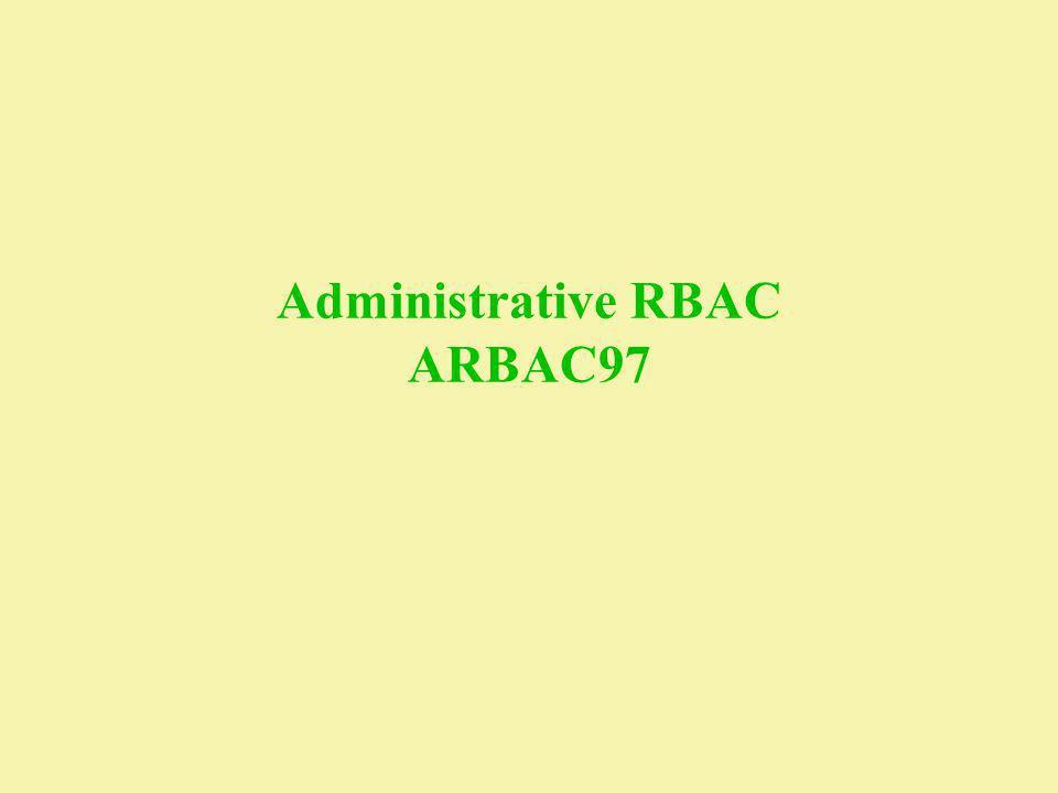 Administrative RBAC ARBAC97
