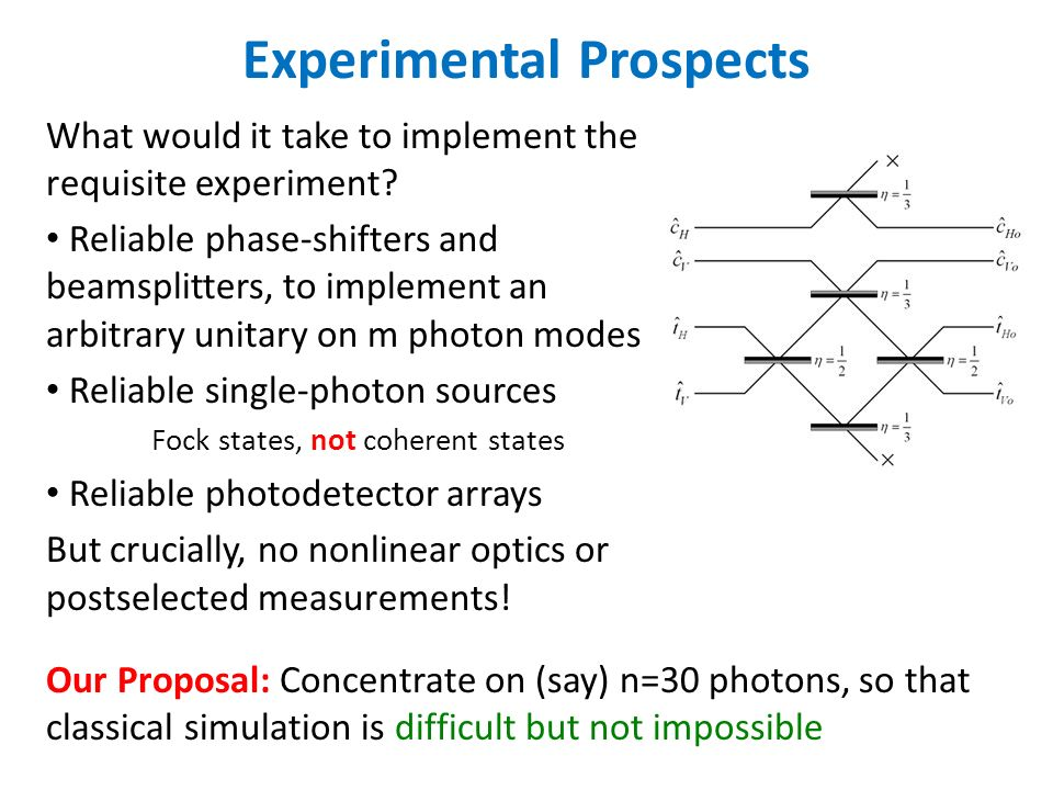 Experimental Prospects What would it take to implement the requisite experiment.
