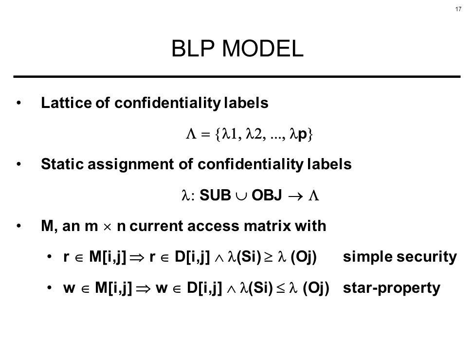 17 BLP MODEL Lattice of confidentiality labels p Static assignment of confidentiality labels SUB OBJ M, an m n current access matrix with r M[i,j] r D