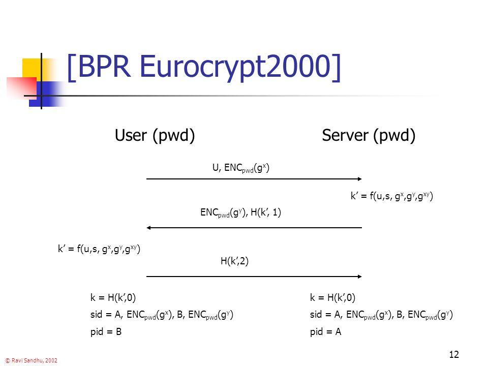 © Ravi Sandhu, 2002 12 [BPR Eurocrypt2000] User (pwd)Server (pwd) U, ENC pwd (g x ) ENC pwd (g y ), H(k, 1) H(k,2) k = f(u,s, g x,g y,g xy ) k = H(k,0) sid = A, ENC pwd (g x ), B, ENC pwd (g y ) pid = B k = H(k,0) sid = A, ENC pwd (g x ), B, ENC pwd (g y ) pid = A k = f(u,s, g x,g y,g xy )