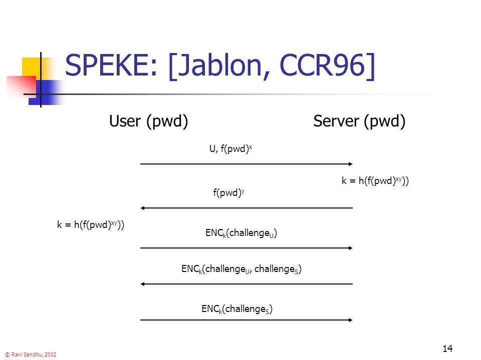 © Ravi Sandhu, 2002 14 SPEKE: [Jablon, CCR96] User (pwd)Server (pwd) U, f(pwd) x ENC k (challenge U ) ENC k (challenge U, challenge S ) k = h(f(pwd) xy )) ENC k (challenge S ) f(pwd) y k = h(f(pwd) xy ))