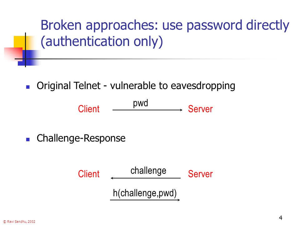 © Ravi Sandhu, 2002 4 Broken approaches: use password directly (authentication only) Original Telnet - vulnerable to eavesdropping pwd ClientServer ClientServer challenge h(challenge,pwd) Challenge-Response