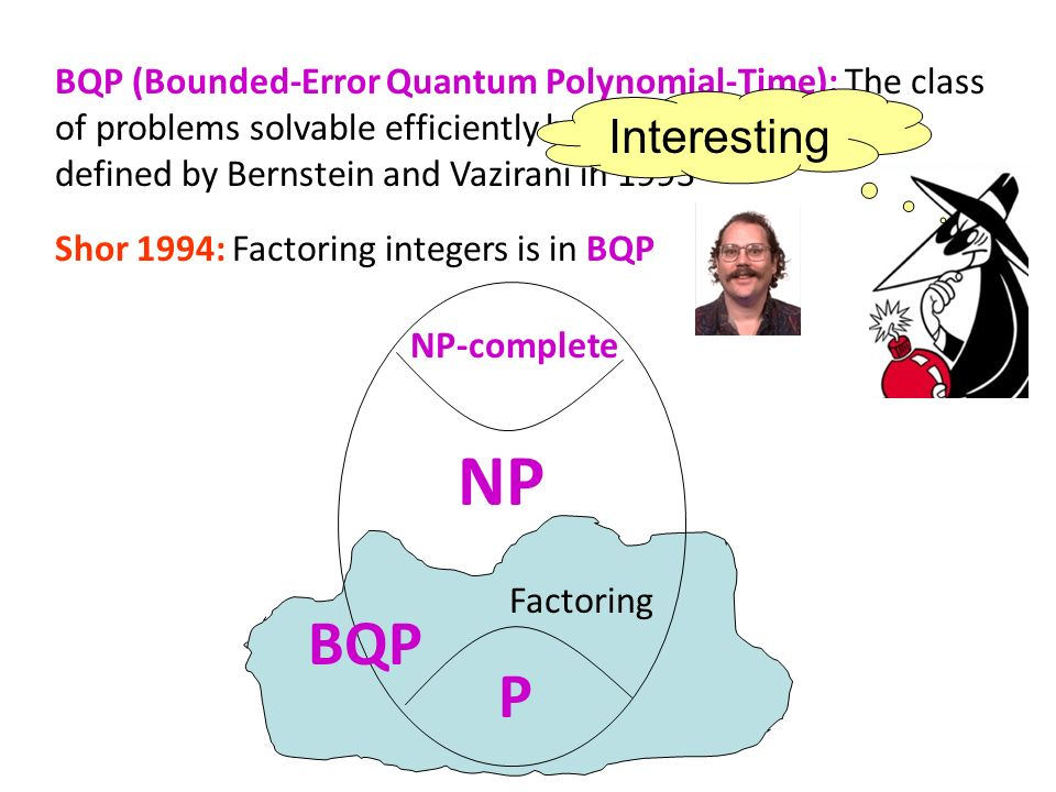 BQP (Bounded-Error Quantum Polynomial-Time): The class of problems solvable efficiently by a quantum computer, defined by Bernstein and Vazirani in 19