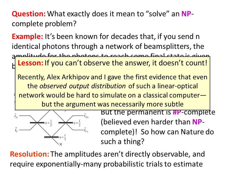 Question: What exactly does it mean to solve an NP- complete problem? Example: Its been known for decades that, if you send n identical photons throug