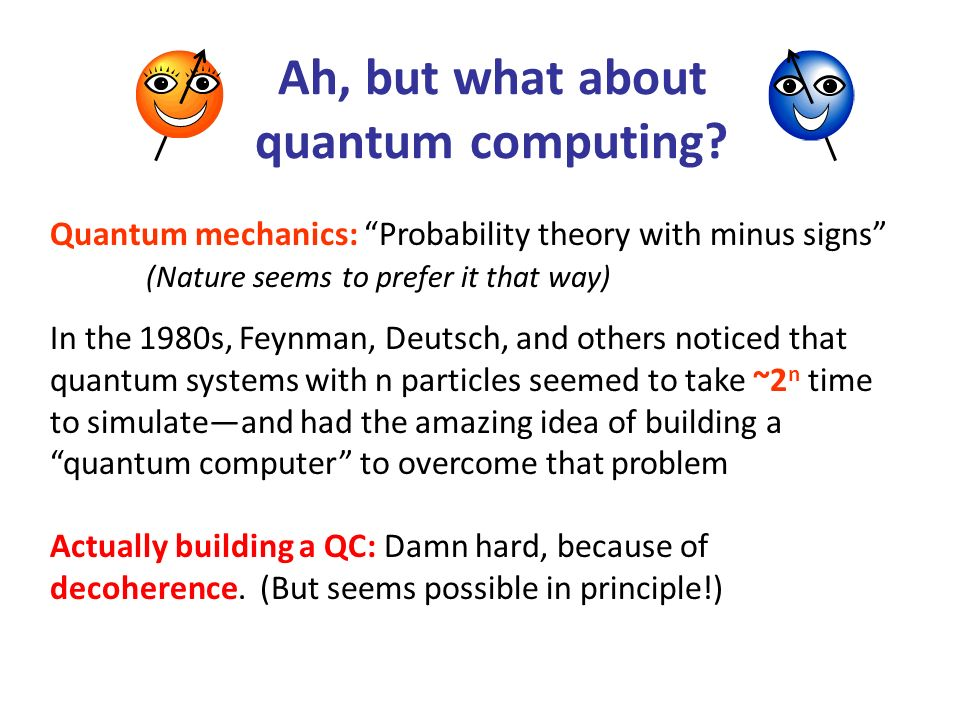Ah, but what about quantum computing? In the 1980s, Feynman, Deutsch, and others noticed that quantum systems with n particles seemed to take ~2 n tim