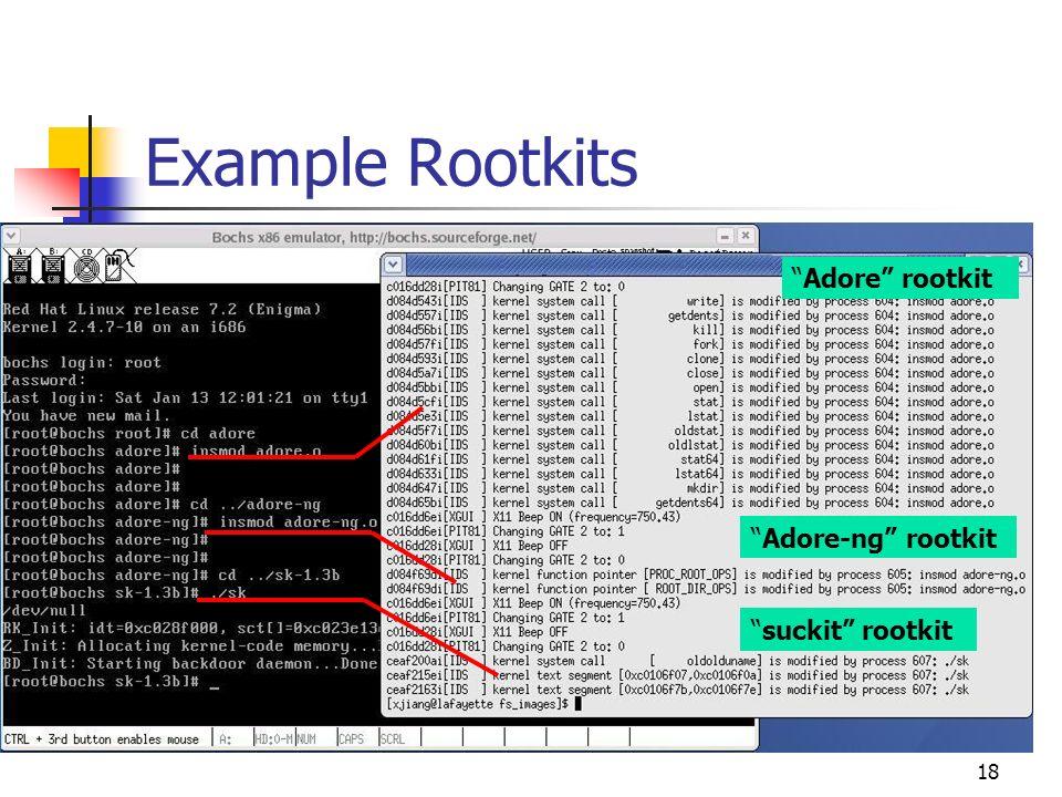 18 Example Rootkits Adore rootkit Adore-ng rootkit suckit rootkit