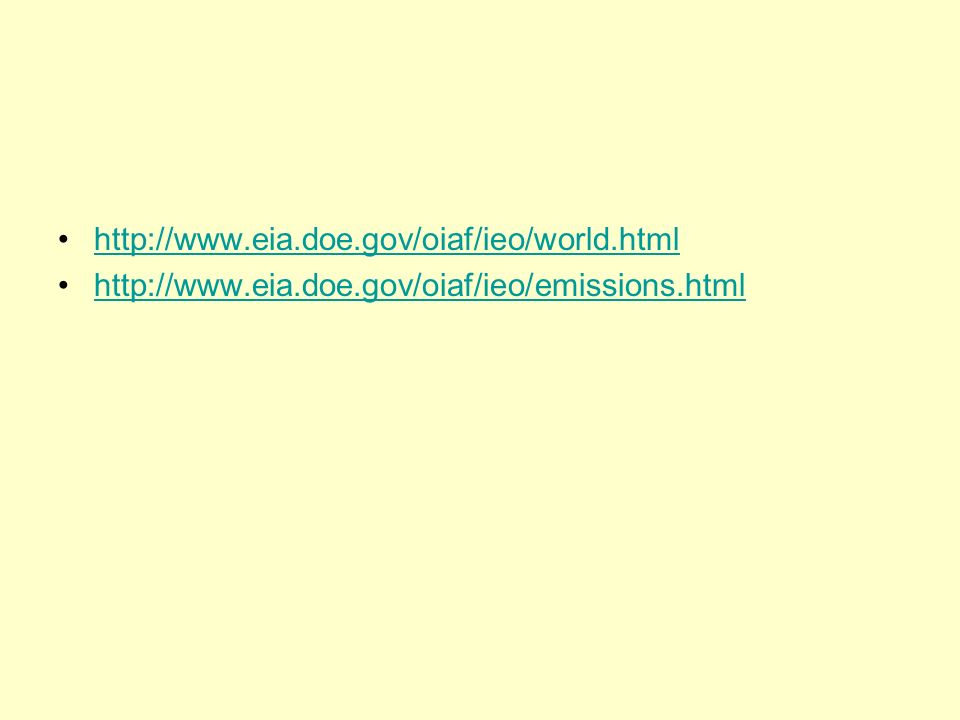 http://www.eia.doe.gov/oiaf/ieo/world.html http://www.eia.doe.gov/oiaf/ieo/emissions.html