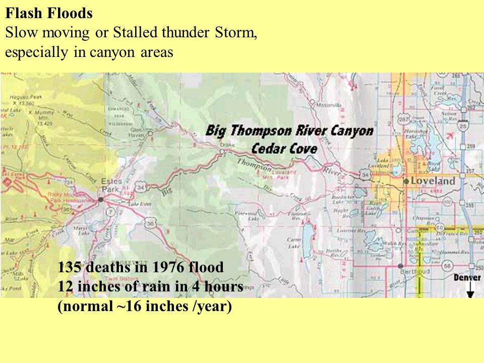 Flash Floods Slow moving or Stalled thunder Storm, especially in canyon areas 135 deaths in 1976 flood 12 inches of rain in 4 hours (normal ~16 inches