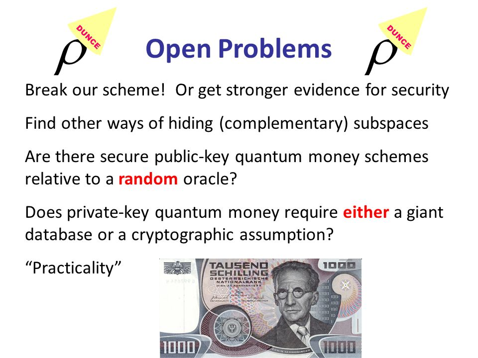 Break our scheme! Or get stronger evidence for security Find other ways of hiding (complementary) subspaces Are there secure public-key quantum money