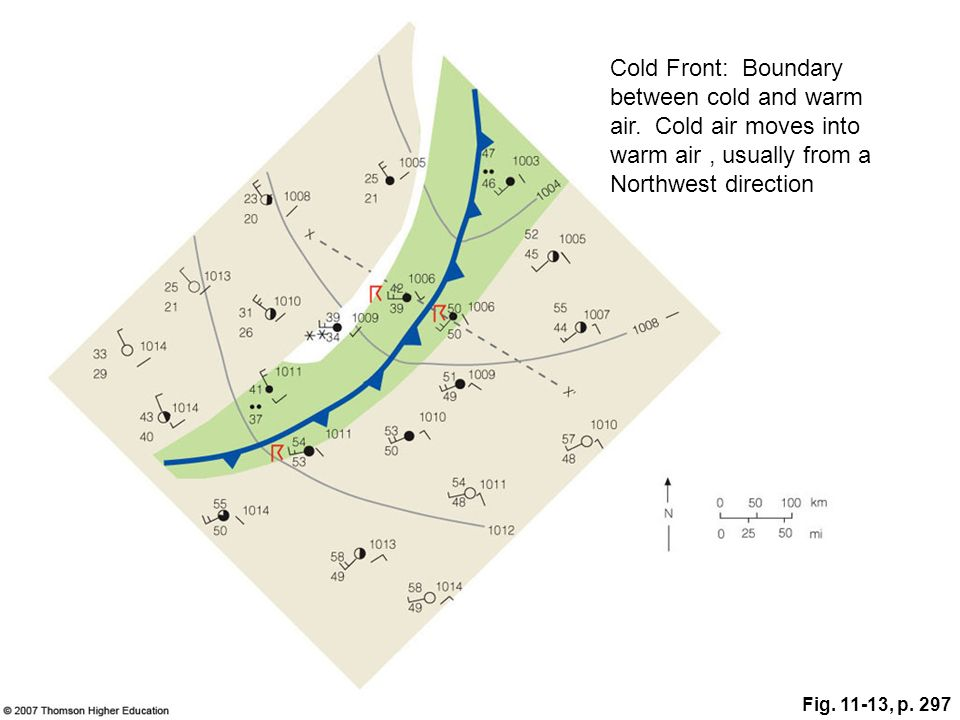 Fig. 11-13, p. 297 Cold Front: Boundary between cold and warm air. Cold air moves into warm air, usually from a Northwest direction