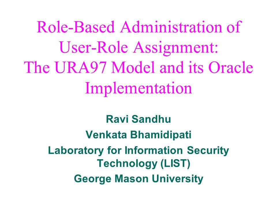 Ravi Sandhu Venkata Bhamidipati Laboratory for Information Security Technology (LIST) George Mason University Role-Based Administration of User-Role A