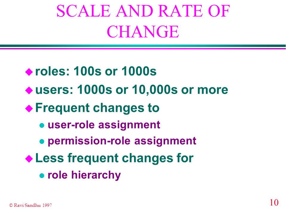 10 © Ravi Sandhu 1997 SCALE AND RATE OF CHANGE u roles: 100s or 1000s u users: 1000s or 10,000s or more u Frequent changes to l user-role assignment l permission-role assignment u Less frequent changes for l role hierarchy