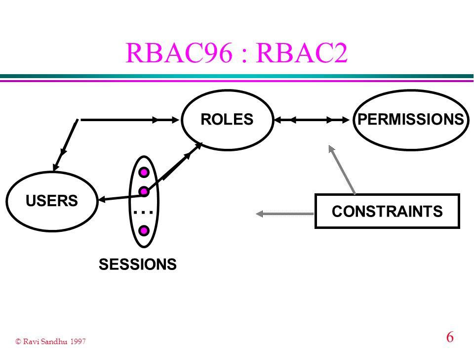 6 © Ravi Sandhu 1997 RBAC96 : RBAC2 ROLES USERS PERMISSIONS... CONSTRAINTS SESSIONS