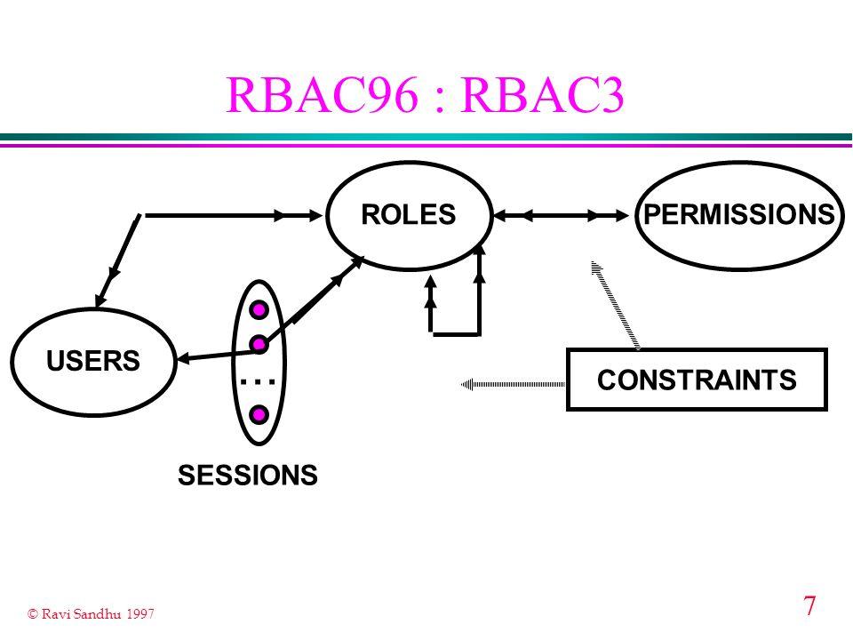 7 © Ravi Sandhu 1997 RBAC96 : RBAC3 ROLES USERS PERMISSIONS... CONSTRAINTS SESSIONS