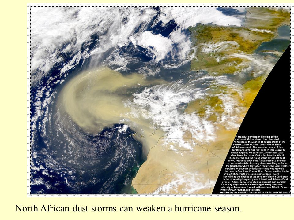 North African dust storms can weaken a hurricane season.
