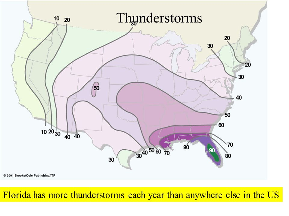 Thunderstorms Florida has more thunderstorms each year than anywhere else in the US