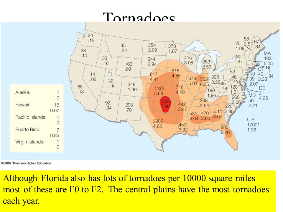 Tornadoes Although Florida also has lots of tornadoes per 10000 square miles most of these are F0 to F2. The central plains have the most tornadoes ea