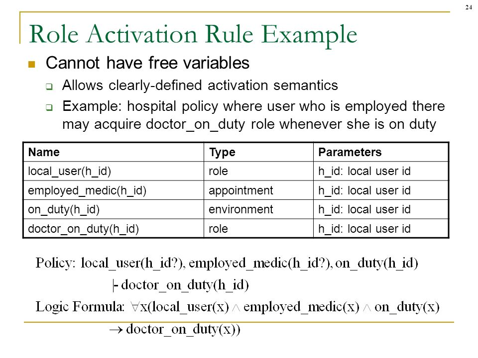 24 Role Activation Rule Example Cannot have free variables Allows clearly-defined activation semantics Example: hospital policy where user who is empl