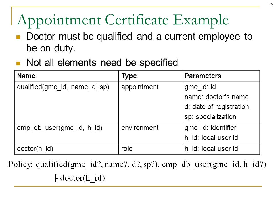 26 Appointment Certificate Example Doctor must be qualified and a current employee to be on duty. Not all elements need be specified NameTypeParameter