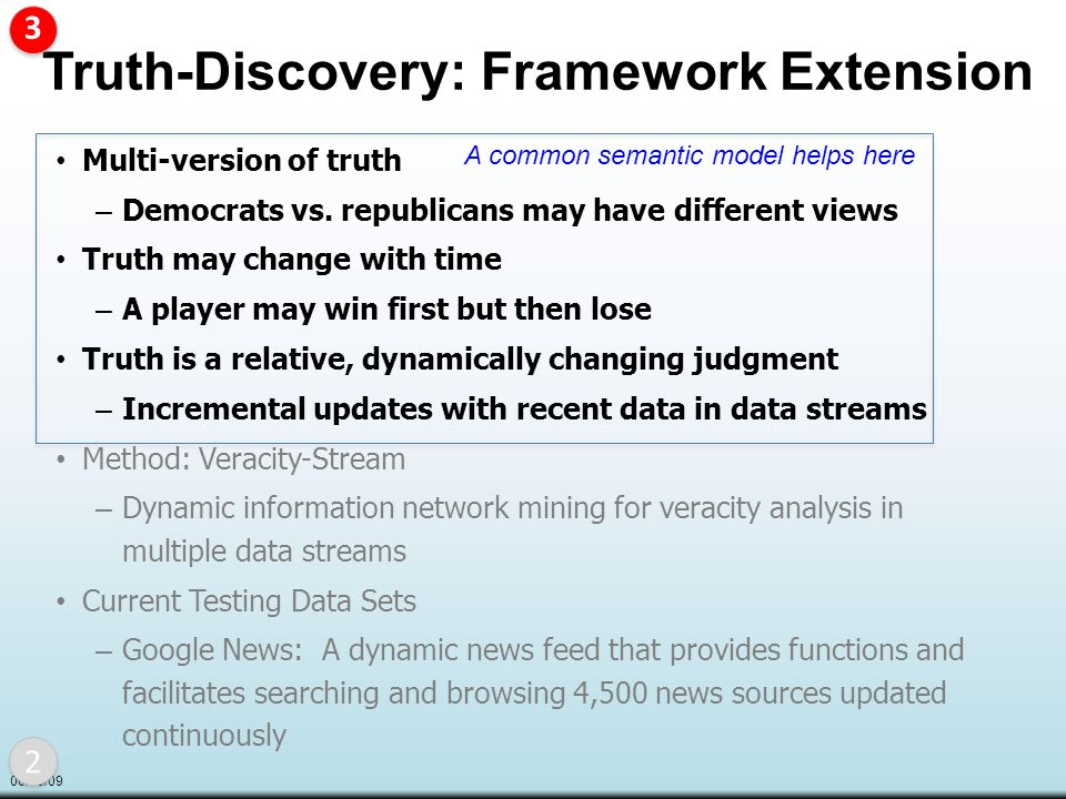 06/08/09 Truth-Discovery: Framework Extension Multi-version of truth – Democrats vs.