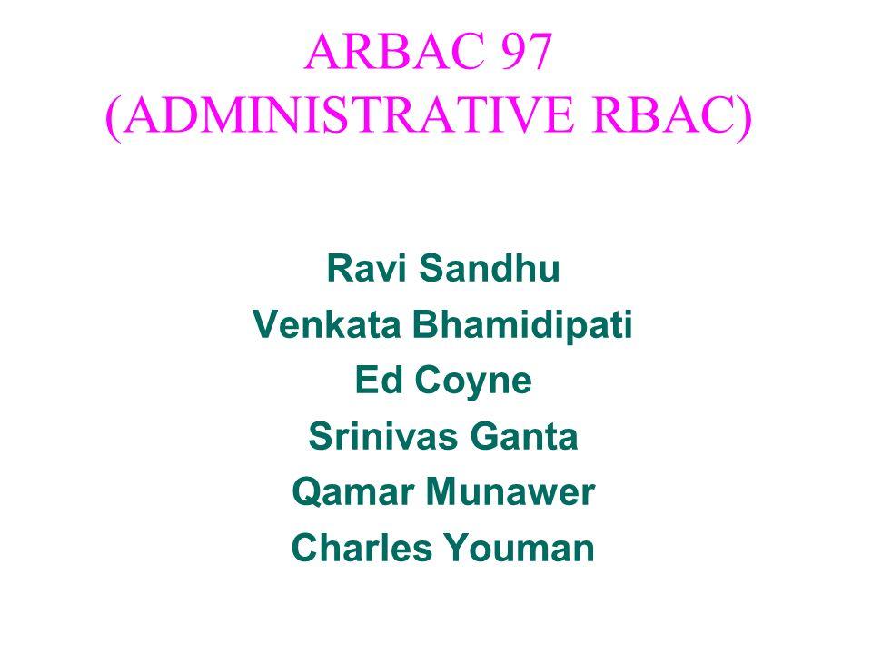 ARBAC 97 (ADMINISTRATIVE RBAC) Ravi Sandhu Venkata Bhamidipati Ed Coyne Srinivas Ganta Qamar Munawer Charles Youman