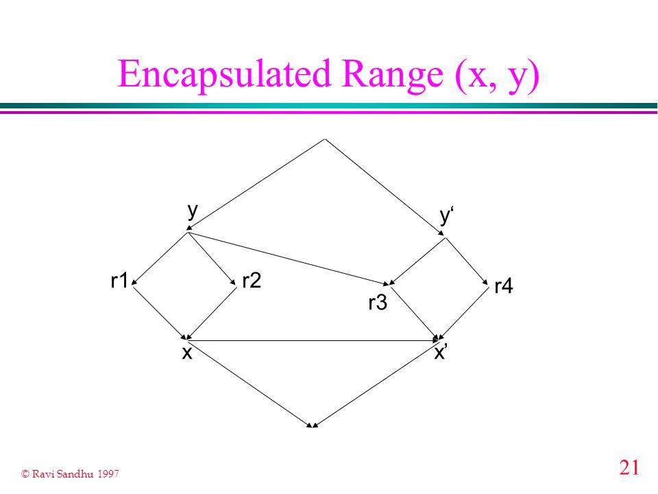 21 © Ravi Sandhu 1997 Encapsulated Range (x, y) x y r1r2 r3 x y r4