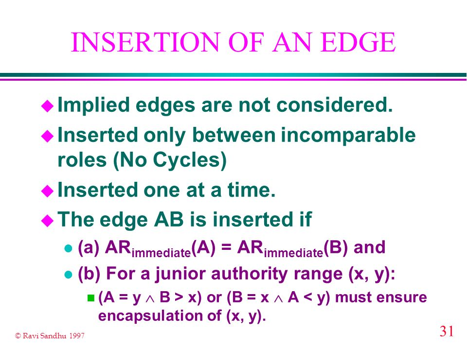 31 © Ravi Sandhu 1997 INSERTION OF AN EDGE u Implied edges are not considered. u Inserted only between incomparable roles (No Cycles) u Inserted one a