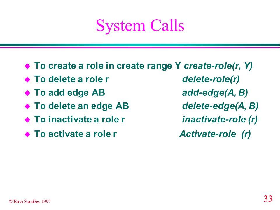 33 © Ravi Sandhu 1997 System Calls u To create a role in create range Y create-role(r, Y) u To delete a role r delete-role(r) u To add edge AB add-edg
