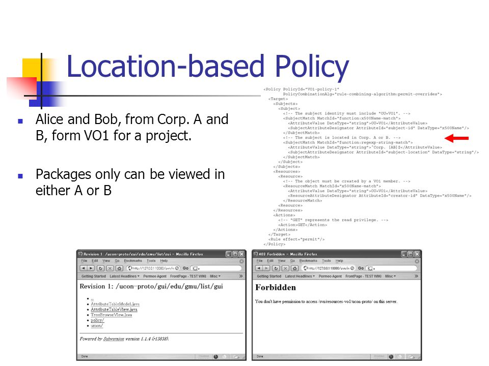 Location-based Policy Alice and Bob, from Corp. A and B, form VO1 for a project.