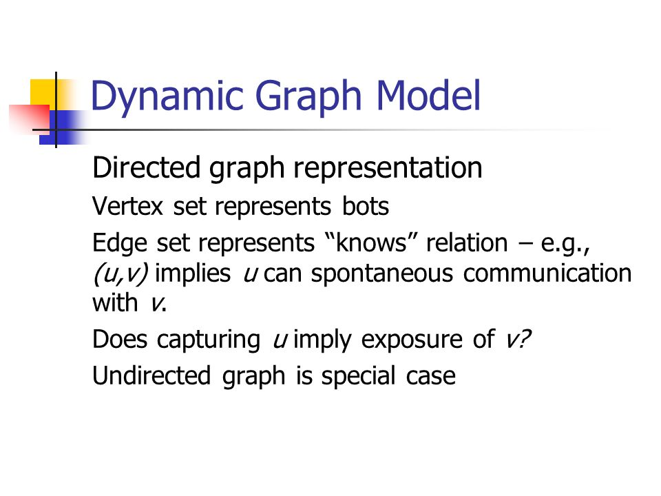 Dynamic Graph Model Directed graph representation Vertex set represents bots Edge set represents knows relation – e.g., (u,v) implies u can spontaneous communication with v.