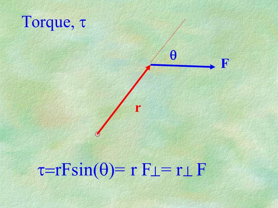 Torque, r F rFsin( )= r F = r F
