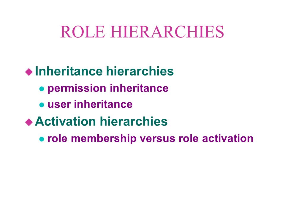 RBAC96 ROLES USER-ROLE ASSIGNMENT PERMISSION-ROLE ASSIGNMENT USERSPERMISSIONS...