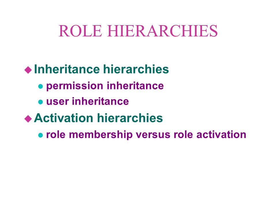 ROLE HIERARCHIES u Inheritance hierarchies l permission inheritance l user inheritance u Activation hierarchies l role membership versus role activation