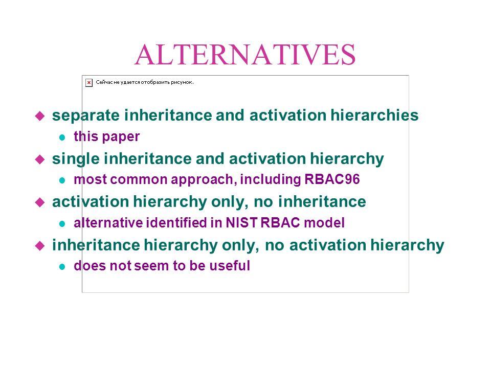 ACTIVATION HIERARCHIES A B D C E A B D C E