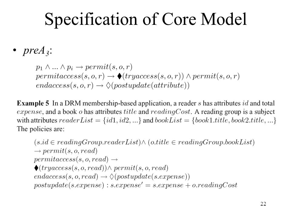 22 Specification of Core Model preA 3 :