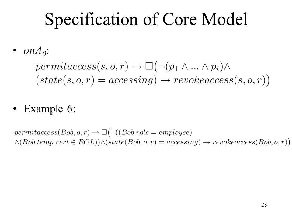 23 Specification of Core Model onA 0 : Example 6: