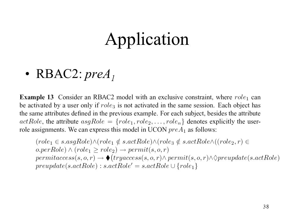 38 Application RBAC2: preA 1