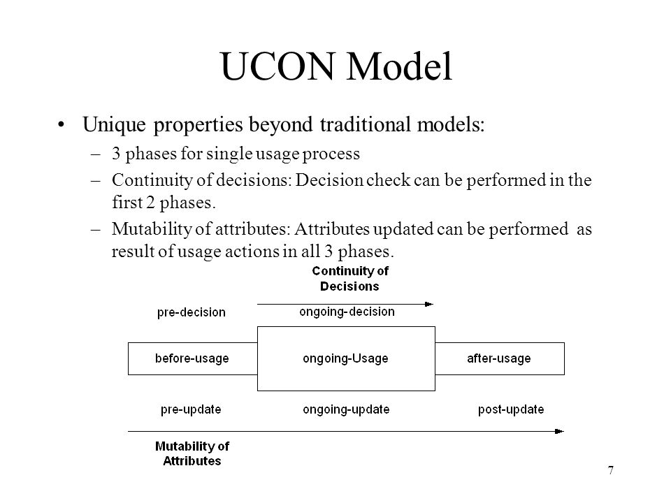 7 UCON Model Unique properties beyond traditional models: –3 phases for single usage process –Continuity of decisions: Decision check can be performed in the first 2 phases.